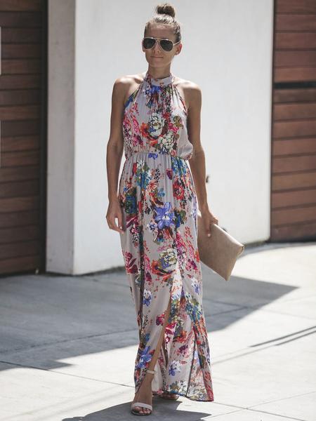Milanoo Floral Maxi Dress Women Sleeveless Pleated Long Warp Beach Dress