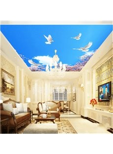 3D Doves in Blue Sky Waterproof Durable and Eco-friendly Ceiling Murals
