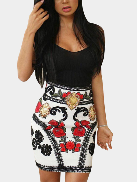 Yoins Black Random Floral Print Backless Scoop Neck Sleeveless Dress