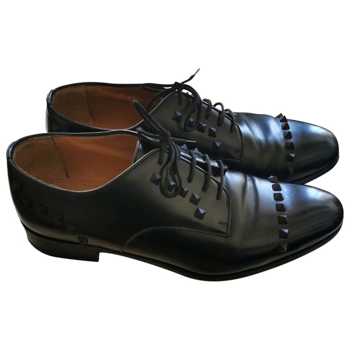 Valentino Garavani \N Black Leather Lace ups for Men 44.5 EU