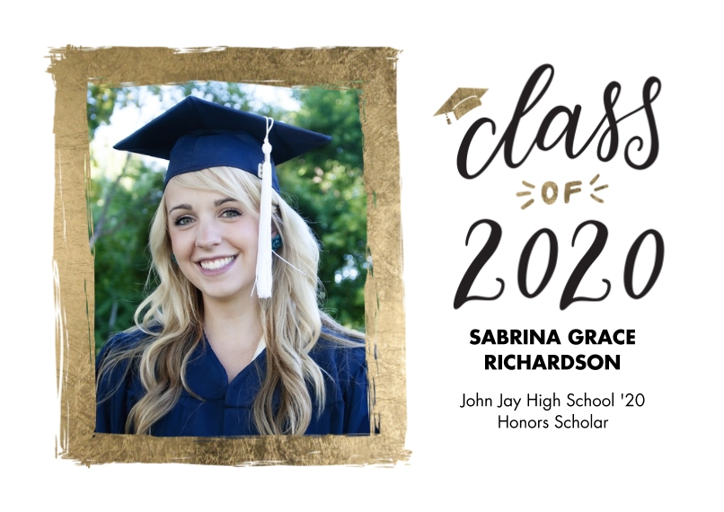 2020 Graduation Announcements 5x7 Cards, Premium Cardstock 120lb with Elegant Corners, Card & Stationery -2020 Grad Painted Gold Border by Tumbalina