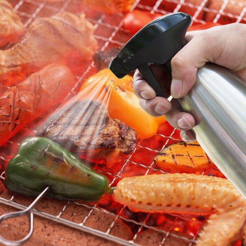 Stainless Steel Spray Bottles Refillable Oil Vinegar Mist Spraying Bottle Water Pump Gravy Boats