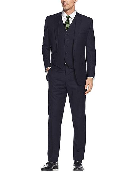 Mens 3Piece Single Breasted SlimFit 2Button Navy Vested Dress Suit Set