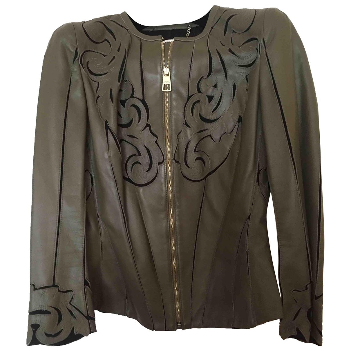 Versace \N Jacke in  Khaki Leder