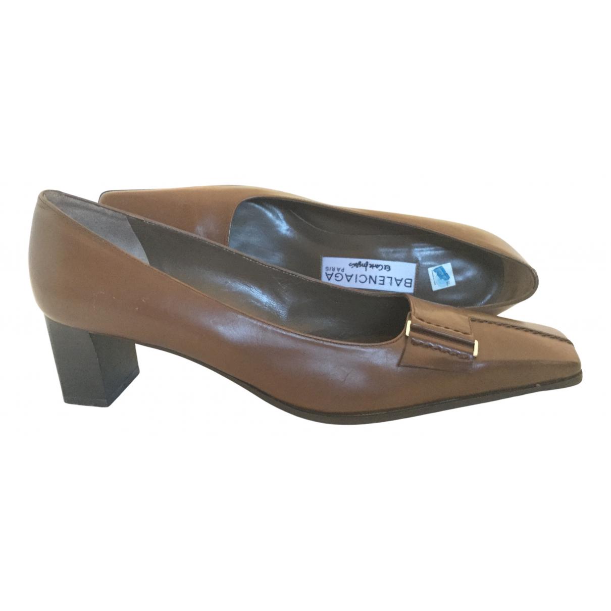 Balenciaga N Brown Leather Heels for Women 37 EU