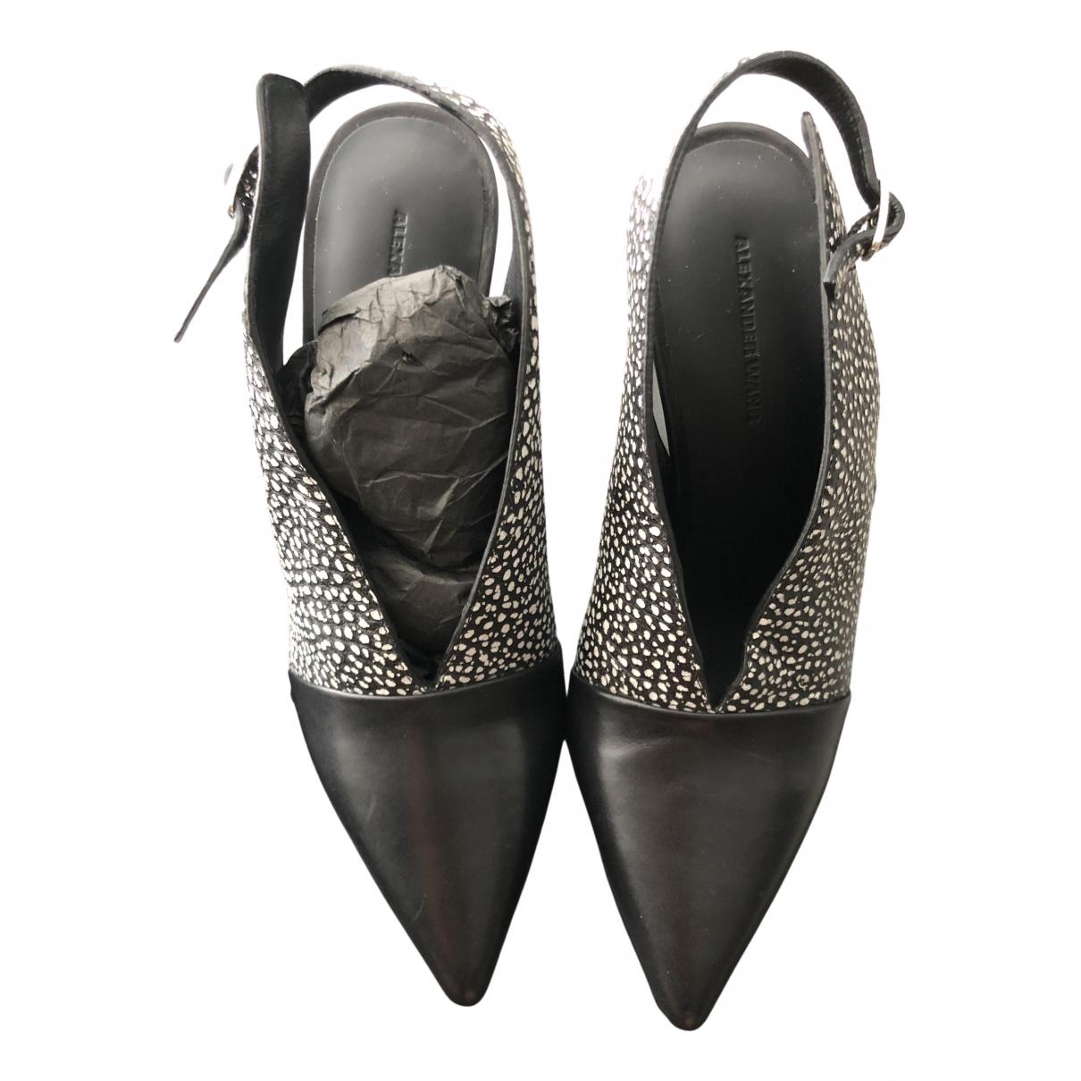 Alexander Wang N Black Leather Heels for Women 37 EU