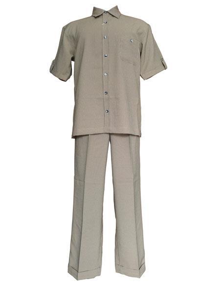 Mens Tan Check Pattern Short Sleeve Shirt and Pant Leisure Set