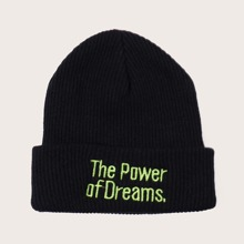 Slogan Embroidery Cuffed Beanie
