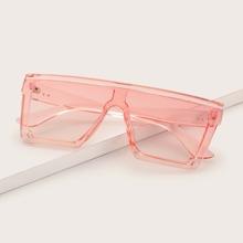 Clear Flat Top Shield Sunglasses