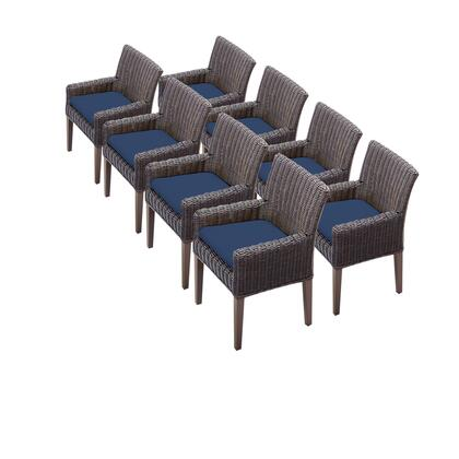 TKC099b-DC-4x-C-NAVY 8 Venice Dining Chairs With Arms with 2 Covers: Wheat and