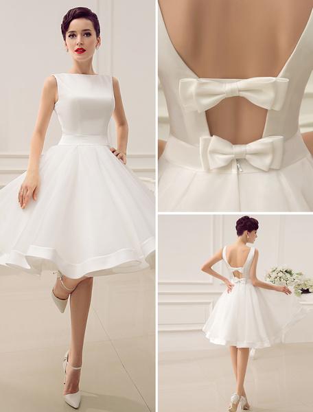 Milanoo Vestido Corto de Boda 2020 Vintage Falda Bridal 1950's Bateau Sin Manga Vestido Bridal de Recepcion de