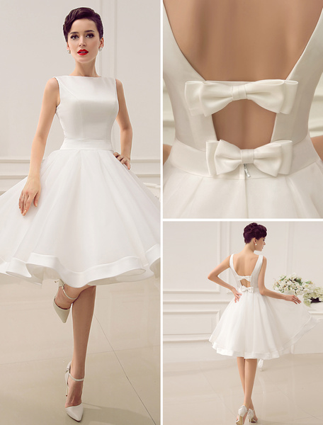 Milanoo Short Wedding Dress Vintage Bridal Dress 1950's Bateau Sleeveless Reception Bridal Gown