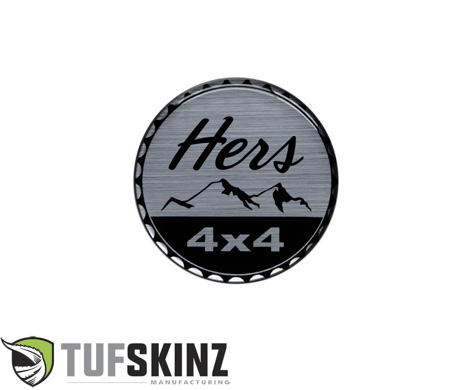 Tufskinz JEX059-DUM-089-G Rated Badge Fits Jeep 1 Piece Kit in Brushed Silver Hers Rated