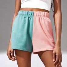 Two Tone Drawstring Waist Sports Shorts