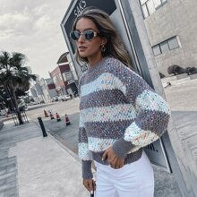 Drop Shoulder Chunky Knit Stripe Sweater