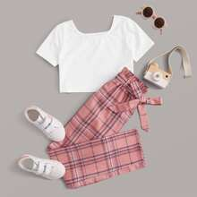 Girls Short Sleeve Top & Paperbag Waist Belted Tartan Pants Set