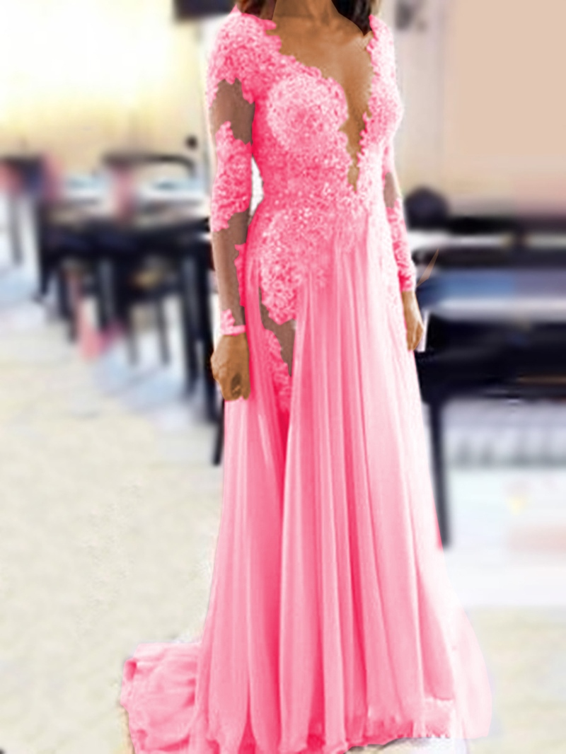 Ericdress Sheer Neck Beading Long Sleeve Evening Dress