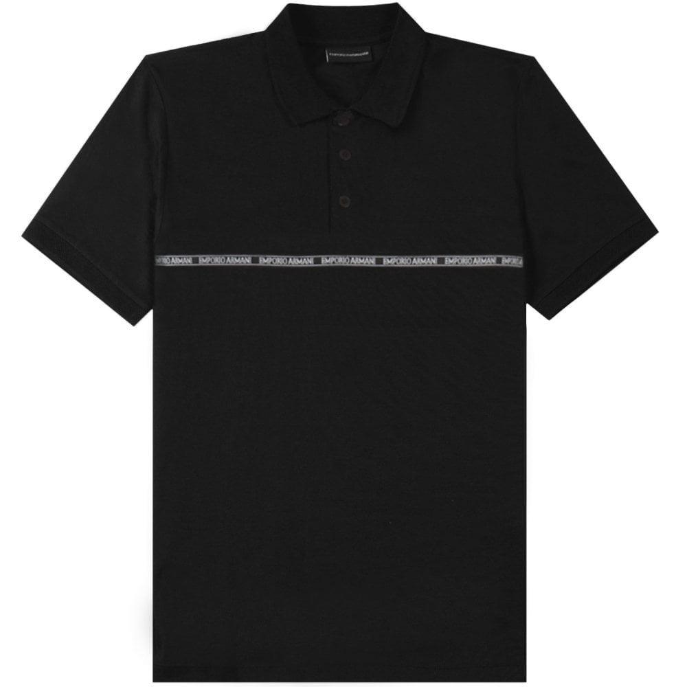 Emporio Armani Logo Stripe Polo Colour: BLACK, Size: EXTRA LARGE