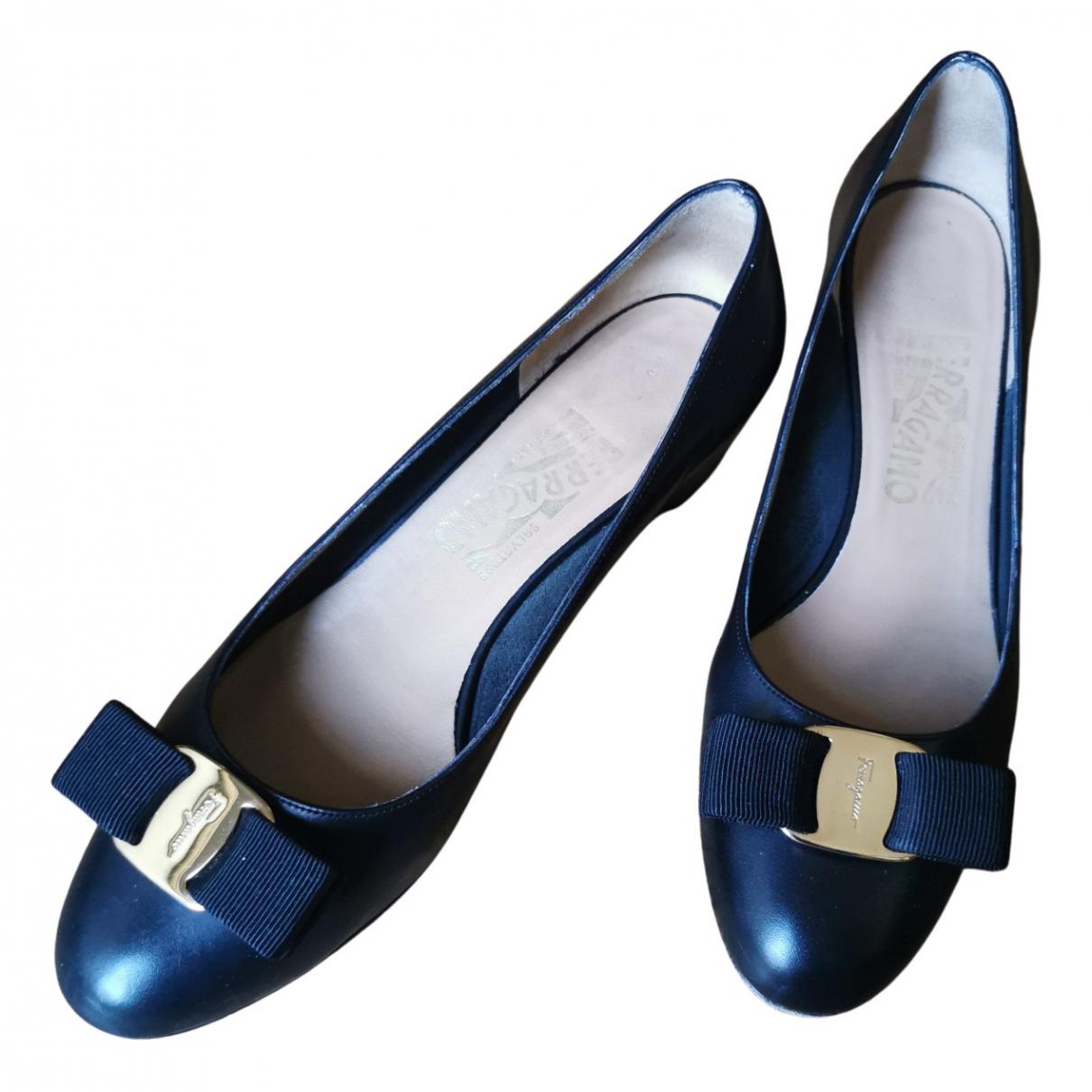 Salvatore Ferragamo N Black Leather Heels for Women 37 EU