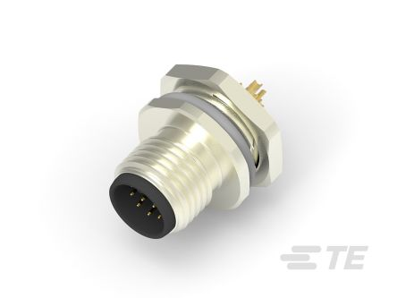 TE Connectivity Circular Connector, 12 contacts Panel Mount M12 Plug, Solder IP67