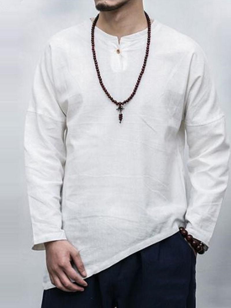 Ericdress Asymmetric Round Neck Plain Loose Men's Shirt