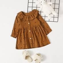 Kleid mit Punkten Muster und Knopfen