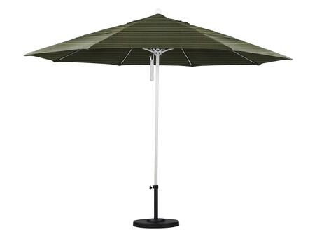 ALTO118170-FD11-DWV 11' Venture Series Commercial Patio Umbrella With Matted White Aluminum Pole Fiberglass Ribs Pulley Lift With Olefin Terrace Fern