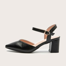 Point Toe High Heeled Ankle Strap Pumps