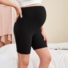 Maternidad shorts biker con textura de cintura elastica