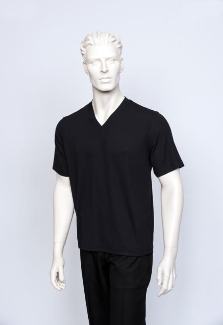 Vienna Men's Short Sleeve V-Neck Ribbed Black Sweater