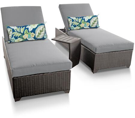 Classic Collection CLASSIC-2x-ST-SPA Patio Set with 2 Chaises   1 Side Table - Wheat and Spa
