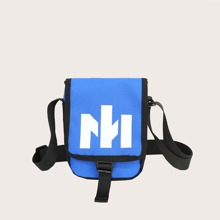 Letter Graphic Flap Crossbody Bag