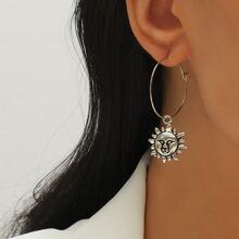 Sun Round Drop Earrings