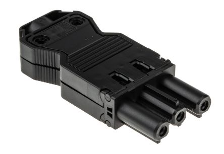 Wieland , GST18i3 Female 3 Pole Mini Connector, Cable Mount, with Strain Relief, Rated At 20A, 250 V, Black