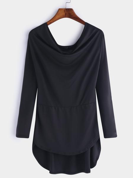 Yoins Black Plain Irregular Hem Long Sleeves T-shirts