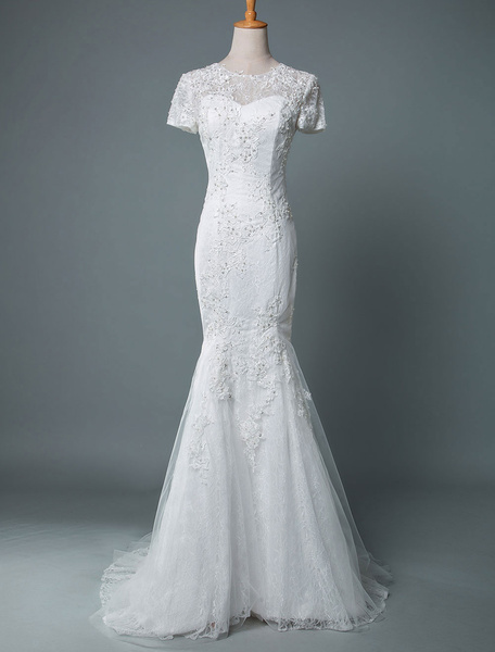 Milanoo Wedding Dress Mermaid Short Sleeves Lace Jewel Neck Bridal Dresses With Train