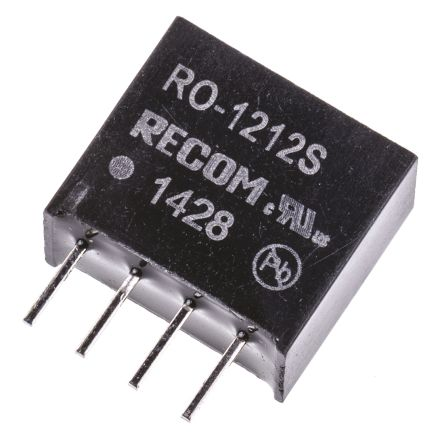 Recom RO 1W Isolated DC-DC Converter Through Hole, Voltage in 10.8 → 13.2 V dc, Voltage out 12V dc