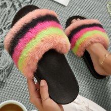 Plush Multicolored Open-Toe Slippers