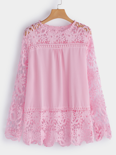 Yoins Plus Size Pink See-through Lace Insert Top
