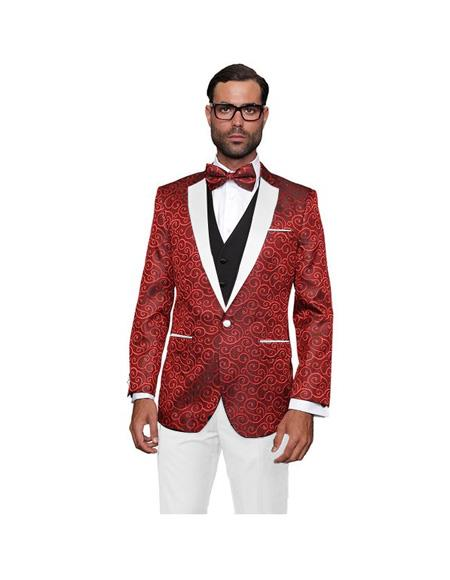 Red and White Lapel Paisley Floral White vest & Pants Suit Bow Tie
