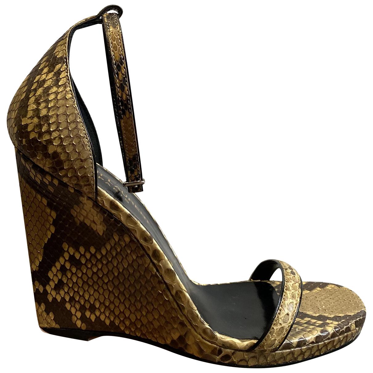 Saint Laurent N Beige Water snake Sandals for Women 36.5 EU
