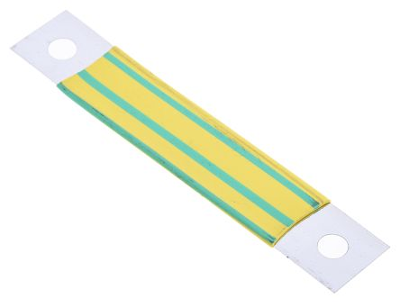 RS PRO 75 x 13mm Insulated Earth Strap for use with Enclosure Panel, Green (5)