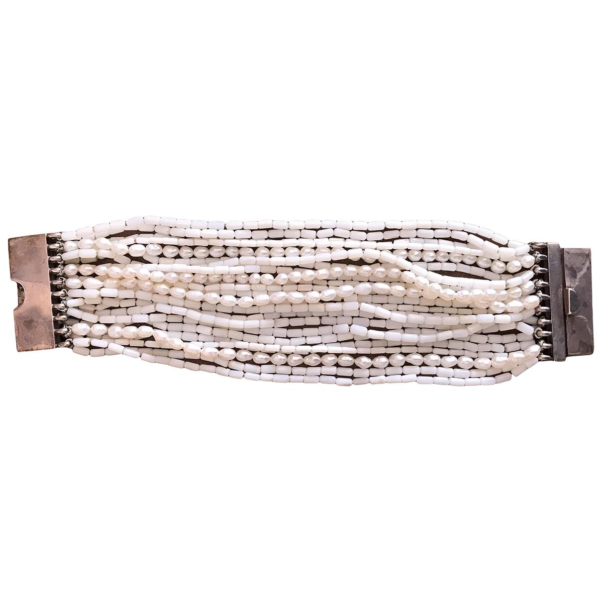- Bracelet Manchette pour femme en argent - blanc
