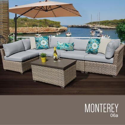 MONTEREY-06a-GREY Monterey 6 Piece Outdoor Wicker Patio Furniture Set 06a with 2 Covers: Beige and