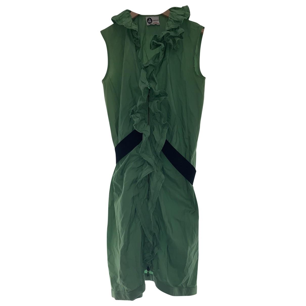Lanvin \N Kleid in  Gruen Baumwolle