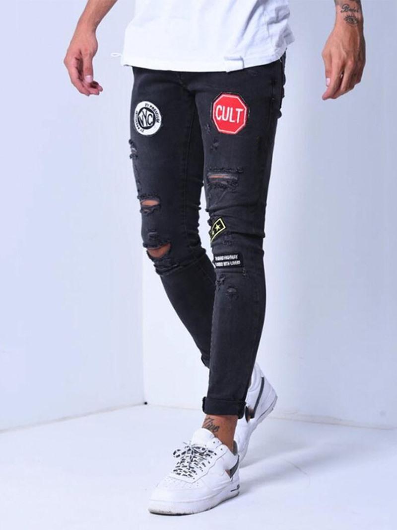 Ericdress Pocket Color Block Pencil Pants Casual Zipper Men's Jeans