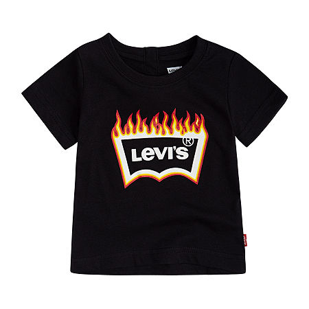 Levi's Baby Boys Crew Neck Short Sleeve Graphic T-Shirt, 6 Months , Black