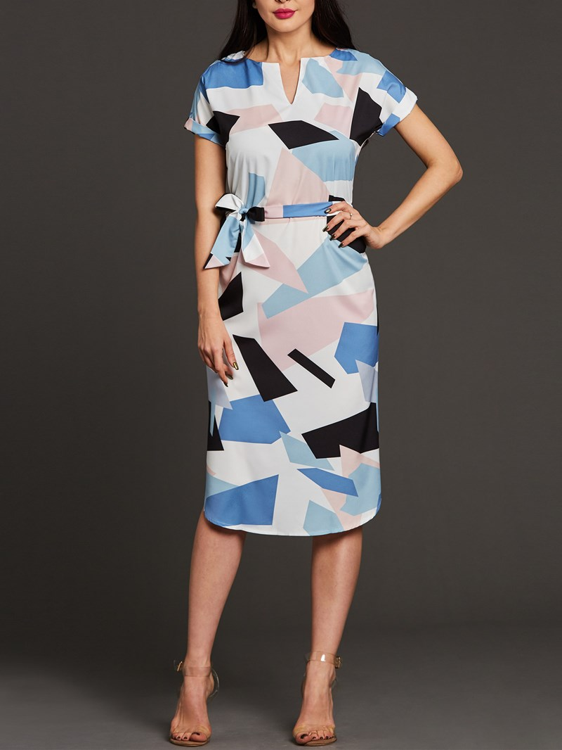 Ericdress Color Block V-Neck Asymmetric Sheath Dress