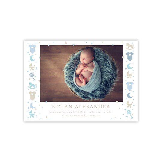 20 Pack of Gartner Studios® Personalized Icons Flat Baby Announcement in Powder Blue | 5