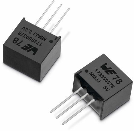 Wurth Elektronik , 5 V LDO Regulator, 500mA, 1-Channel, 3.5% 3-Pin, SIP 173950578